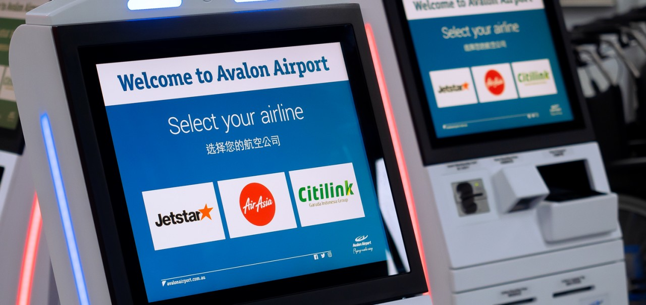 Elenium check in kiosks installed at Avalon Airport will soon be joined by touchless technology kiosks